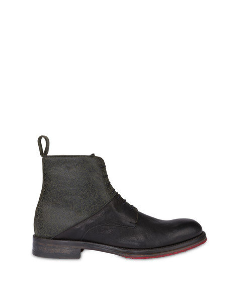 Mezzadro combat boots in calfskin and felt BLACK/MUSK