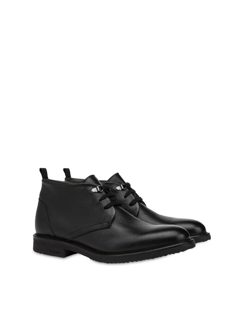 Classic Rubber calfskin ankle boots BLACK