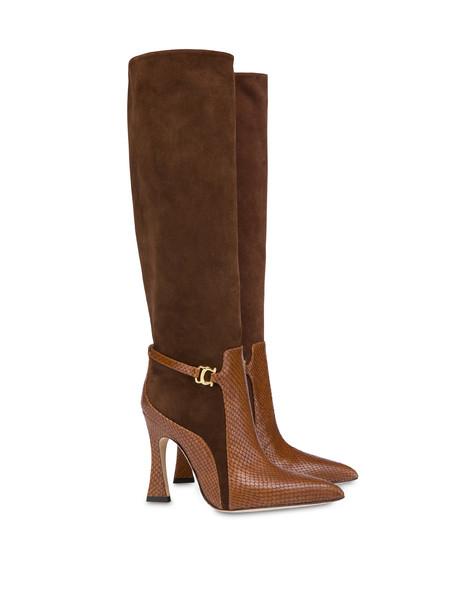 Stivali in crosta e pelle stampa pitone Arco CAFFE/BRUCIATO