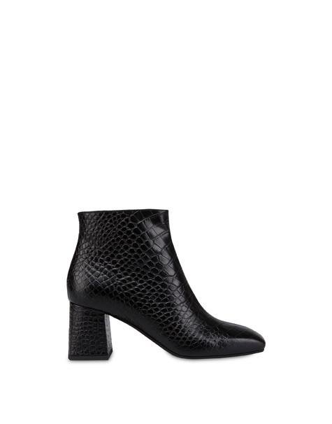 Sloane Square calfskin croc-print ankle boots BLACK