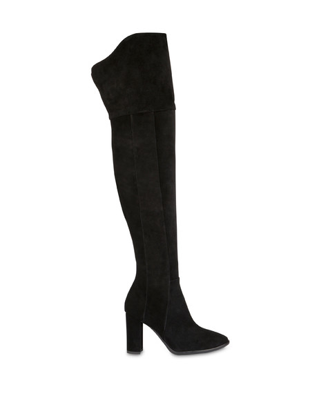 The Woman In Boots high suede boots BLACK