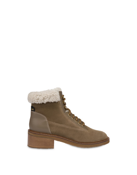 Frost Line suede leather and calfskin ankle boots EARTH/EARTH/NATURAL