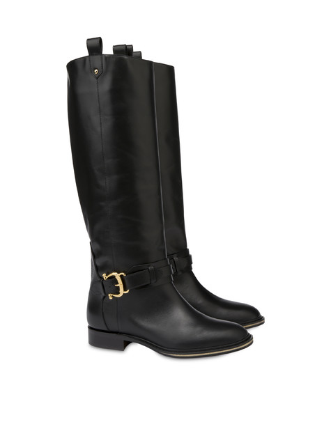 Buckle Notes calfskin riding boots BLACK