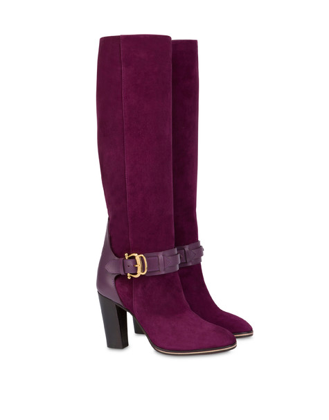 Buckle Notes suede knight boots VIOLET/VIOLET
