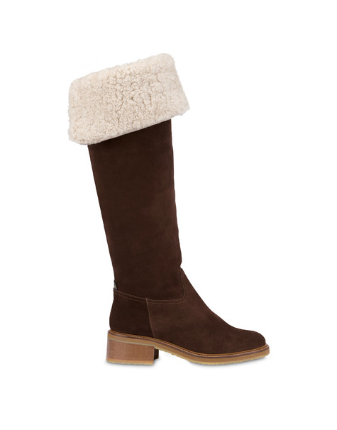 Frost Line suede leather boots COFFEE/NATURAL
