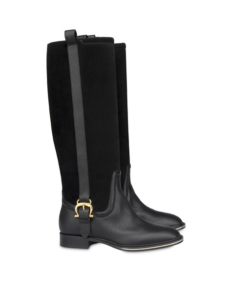 Buckle Notes calfskin and crosta suede riding boots BLACK/BLACK