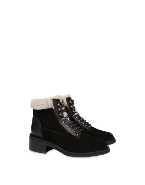 Frost Line suede leather and calfskin ankle boots BLACK/BLACK/NATURAL