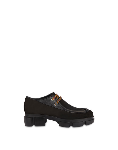 Split leather lace-up shoes with tank bottom BLACK/BLACK