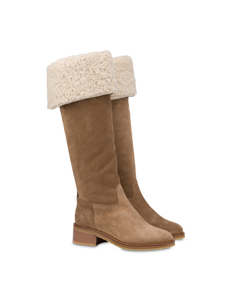 Frost Line suede leather boots EARTH/NATURAL