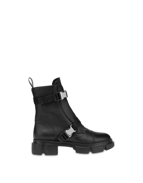 Snow calfskin ankle boots BLACK
