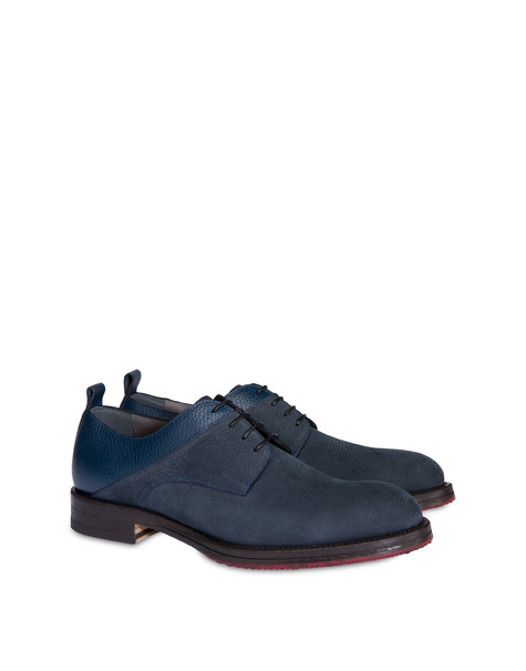 Derby in moose print calfskin and Mezzadro nubuck OCEAN/OCEAN