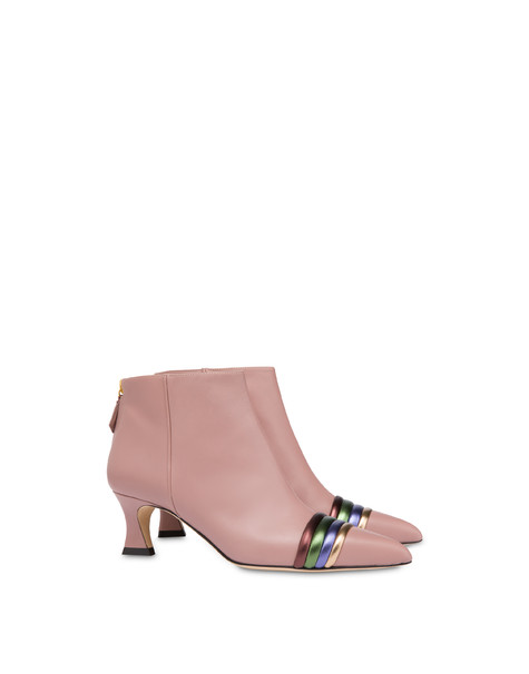 Rainbow calfskin ankle boots OLD ROSE/COFFEE/OLIVE/VIOLET/BRONZE
