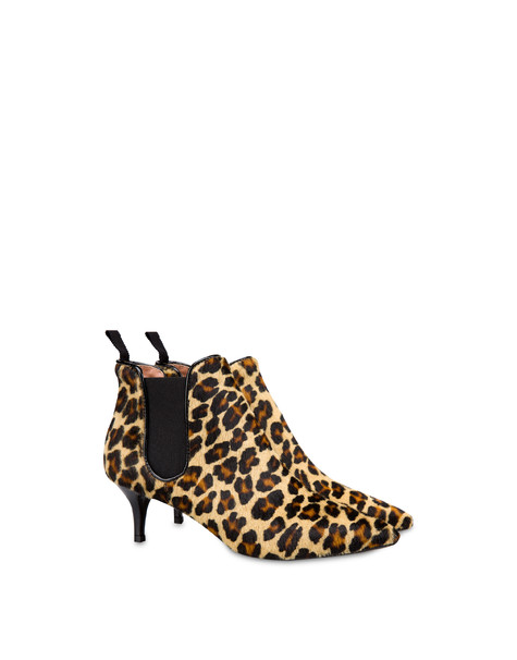 Snow Leopard spotted pony ankle boots EARTH-BLACK/BLACK