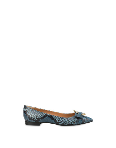Breakfast At Tiffany's python print leather ballet flats LEADEN