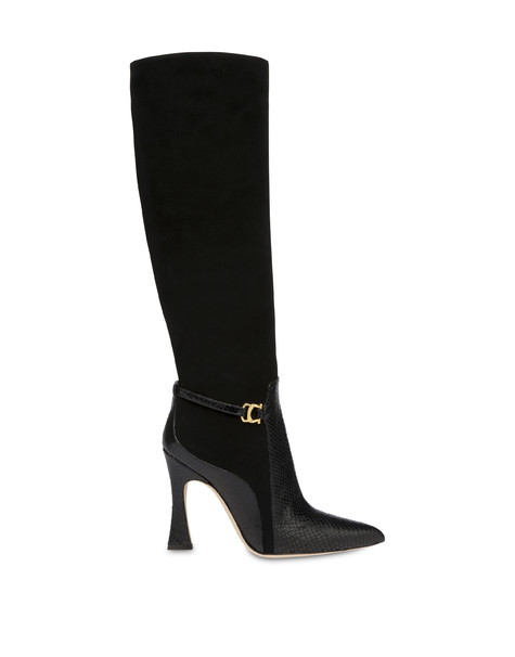 Arco suede leather and python print leather boots BLACK/BLACK
