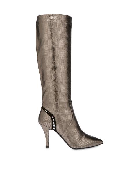 Regina python print laminated calfskin boots GUN