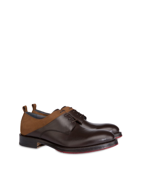 Mezzadro derby in moose print calfskin and nubuck BROWN/BROWN