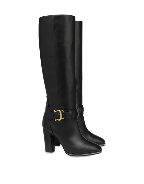Buckle Notes high boots in calfskin BLACK