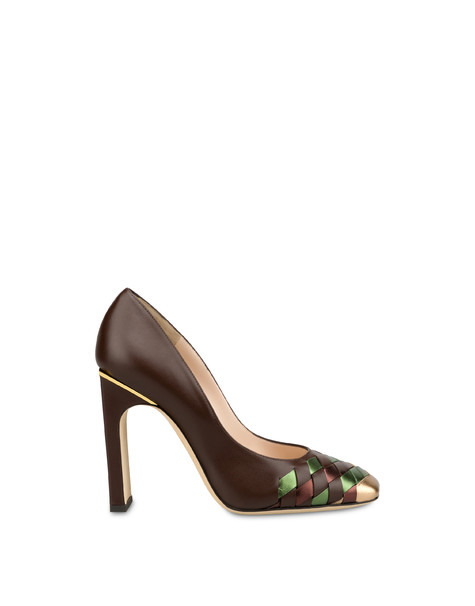 The Grid calfskin décolleté COFFEE/BRONZE/OLIVE/COFFEE
