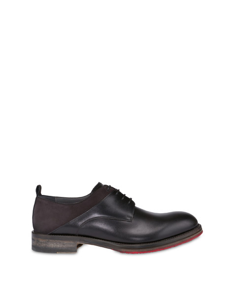 Mezzadro derby in moose print calfskin and nubuck BLACK/BLACK