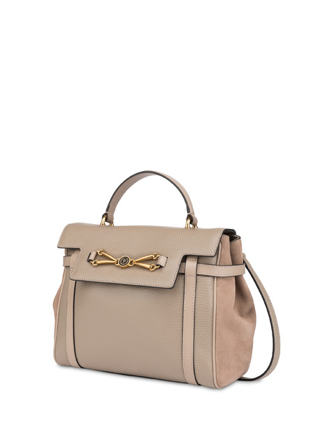 Borsa a mano in vitello bottalato Giulietta Clamp TAUPE/TAUPE/TAUPE