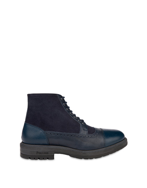 Split leather and kidskin lace-up ankle boots with zipper FOG/OCEAN/OCEAN