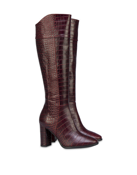 The Woman In Boots crocodile print calfskin boots BURNED