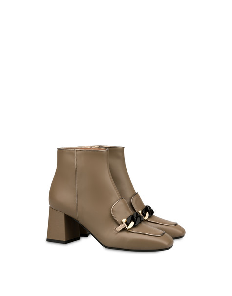 Sunkissed calfskin ankle boots EARTH/GUN