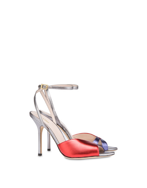 Tricolor laminated nappa leather Evening Sandals STEEL/RED/VIOLET