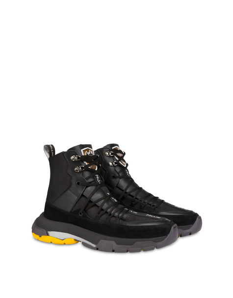 Sfera high sneakers in nylon, calfskin and split leather BLACK/BLACK/BLACK/BLACK