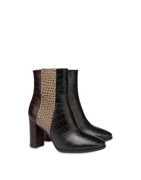 The Woman In Boots crocodile print calfskin ankle boots BLACK/EARTH/BURNED