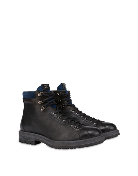 Climber combat boots in crust leather and kidskin BLACK/OCEAN