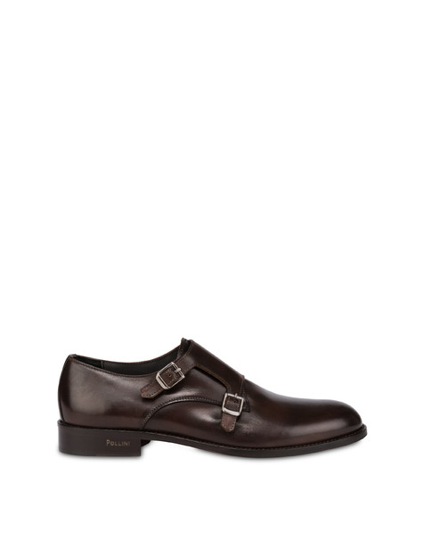 Classic Leather double monk in calfskin COFFEE