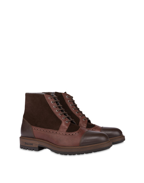 Split leather and kidskin lace-up ankle boots with zipper COFFEE/COFFEE/COFFEE