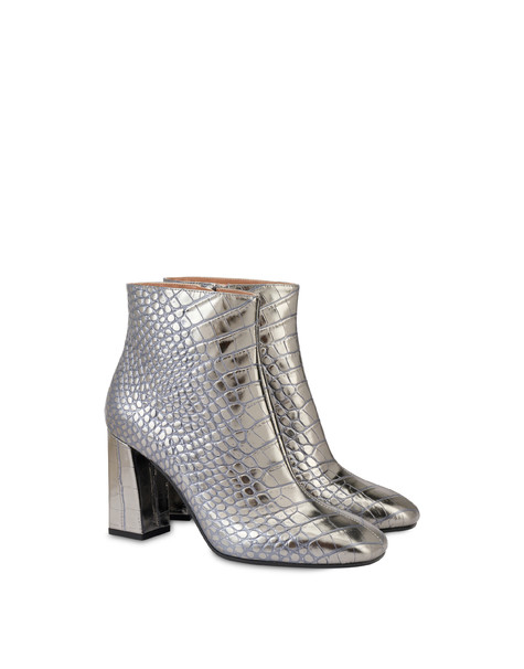 Sloane Square croc print laminated ankle boots STEEL