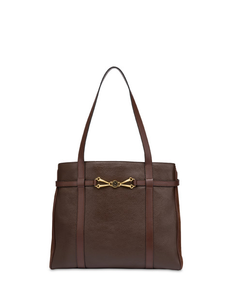 Giulietta Clamp tumbled calfskin shopping bag CHOCOLATE/CHOCOLATE/CHOCOLATE