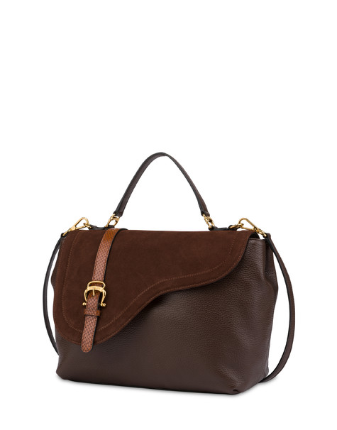 Buckle Notes calfskin handbag CHOCOLATE/CHOCOLATE/HIDE