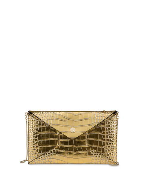 Mail clutchbag in crocodile print laminated calfskin GOLD