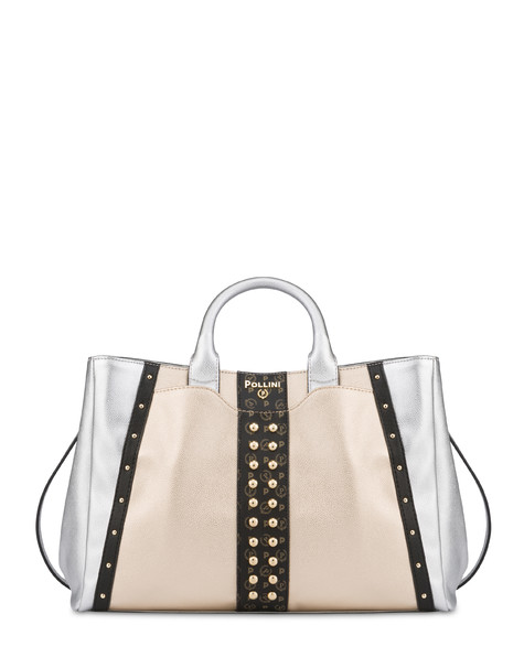 Double handle bag with Helena studs SILVER/BLACK/BLACK/GOLD