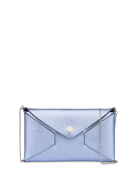 Mail clutchbag in laminated tumbled calfskin SKY