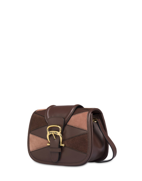 Borsa a tracolla patchwork in crosta e vitello Cabiria Buckle CIOCCOLATO/CIOCCOLATO/MARRONE