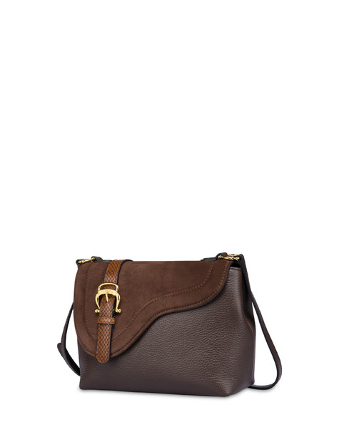 Buckle Notes calfskin shoulder bag CHOCOLATE/CHOCOLATE/HIDE