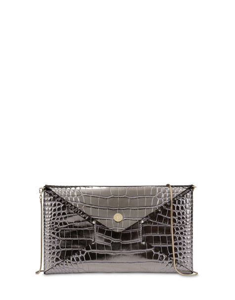 Mail clutchbag in crocodile print laminated calfskin STEEL