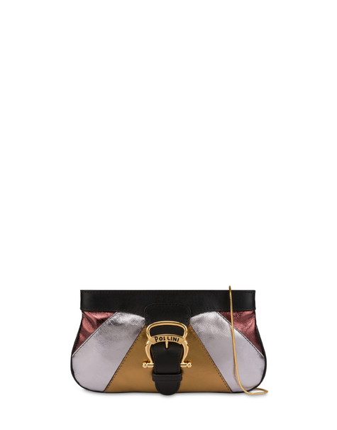 Majolica laminated nappa clutch bag BLACK/CHOCOLATE/SILVER/GOLD