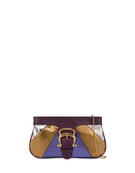 Majolica laminated nappa clutch bag WINE/GOLD/VIOLET/SILVER