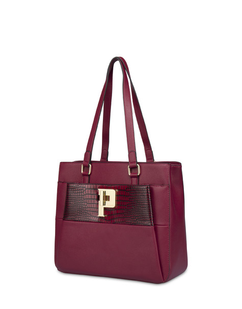 Capitol Peak crocodile double handle bag BORDEAUX/BORDEAUX