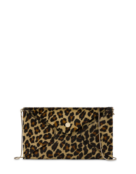 Mail clutch bag in leopard pony skin BEIGE-BLACK