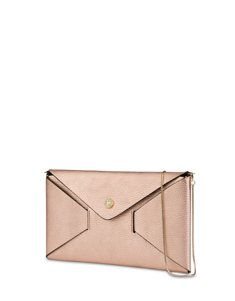 Mail clutchbag in laminated tumbled calfskin CHAMPAGNE