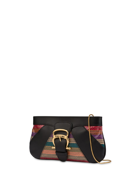 Pochette in vitello ed elaphe multirighe NERO/MULTICOLOR