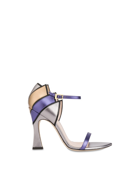 Nataly X Pollini laminated nappa leather sandals BLACK/STEEL/VIOLET/BRONZE